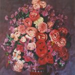 September (Blumenstillleben; Acryl auf Molino)