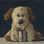 Ölbild Kuscheltier Hund