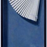 Realistische Ölmalerei eines Fensters mit defekter Jalousie.
