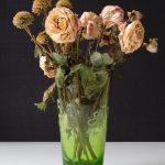 Fotografie verblühtes Blumenstillleben gemischte Blüten in grüner Glasvase