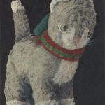 small oil painting on mdf, still life, stuffed animals, old master style
