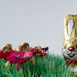 photographs, conceptual art, chocolate, humor, easter bunnies in plastic grass